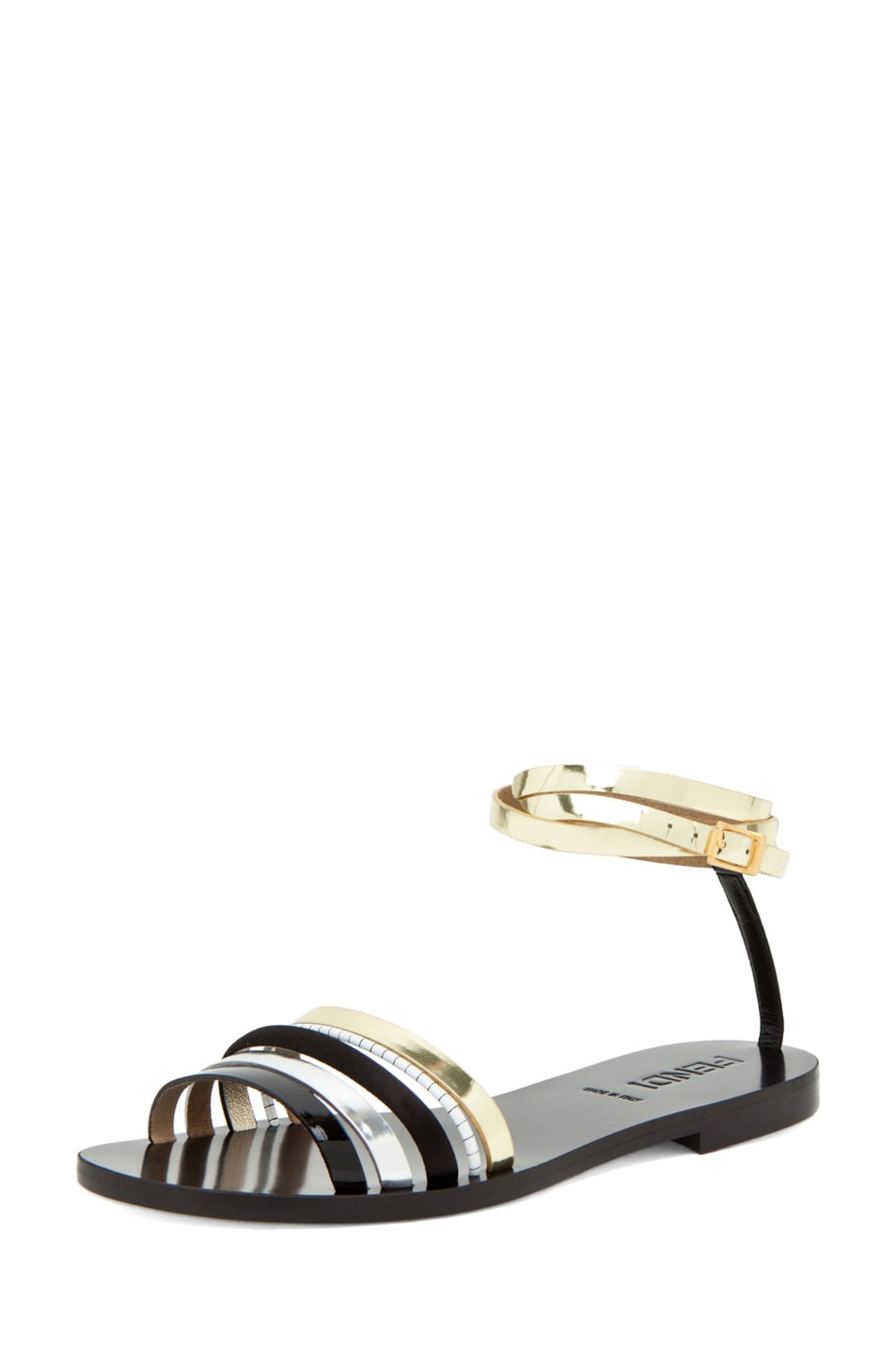 Image 2 of Fendi Strappy Sandal in Black/Silver