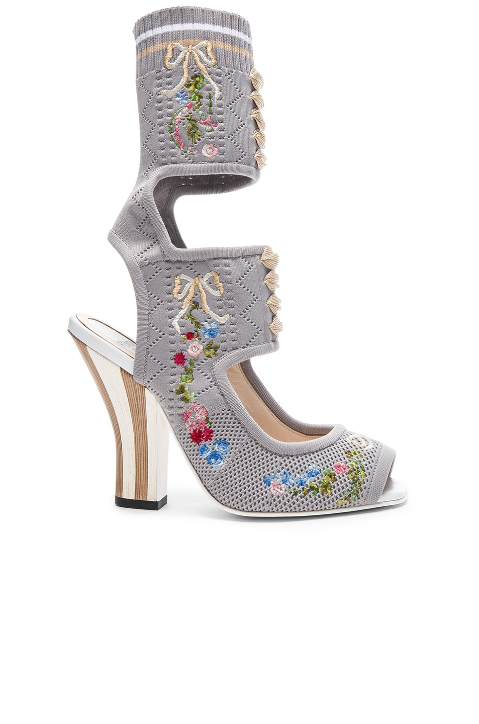 Image 1 of Fendi Cut Out Knit Sandals in Dove Grey