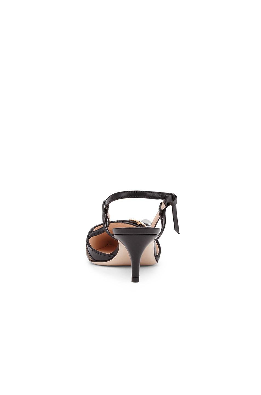 Image 3 of Fendi Logo Print Slingback Leather Kitten Heels in Black & Brown