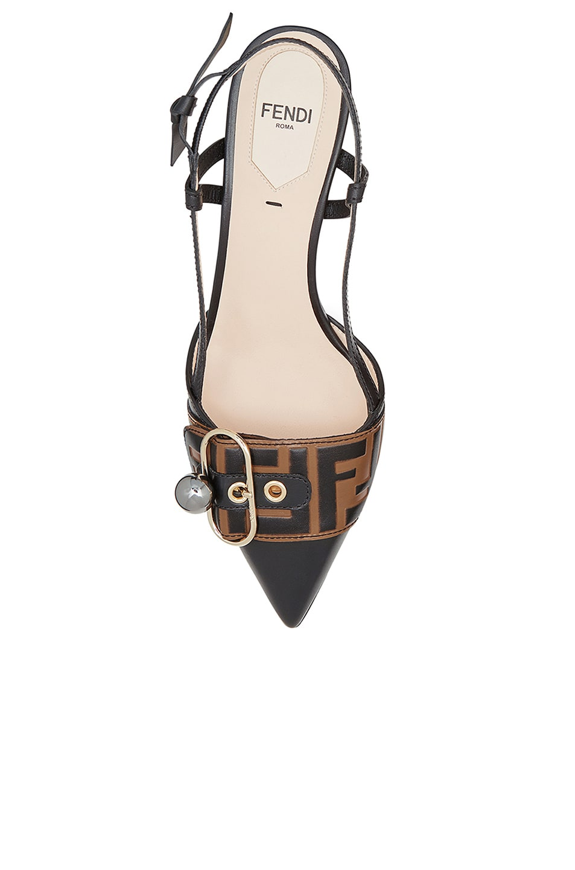 Image 4 of Fendi Logo Print Slingback Leather Kitten Heels in Black & Brown