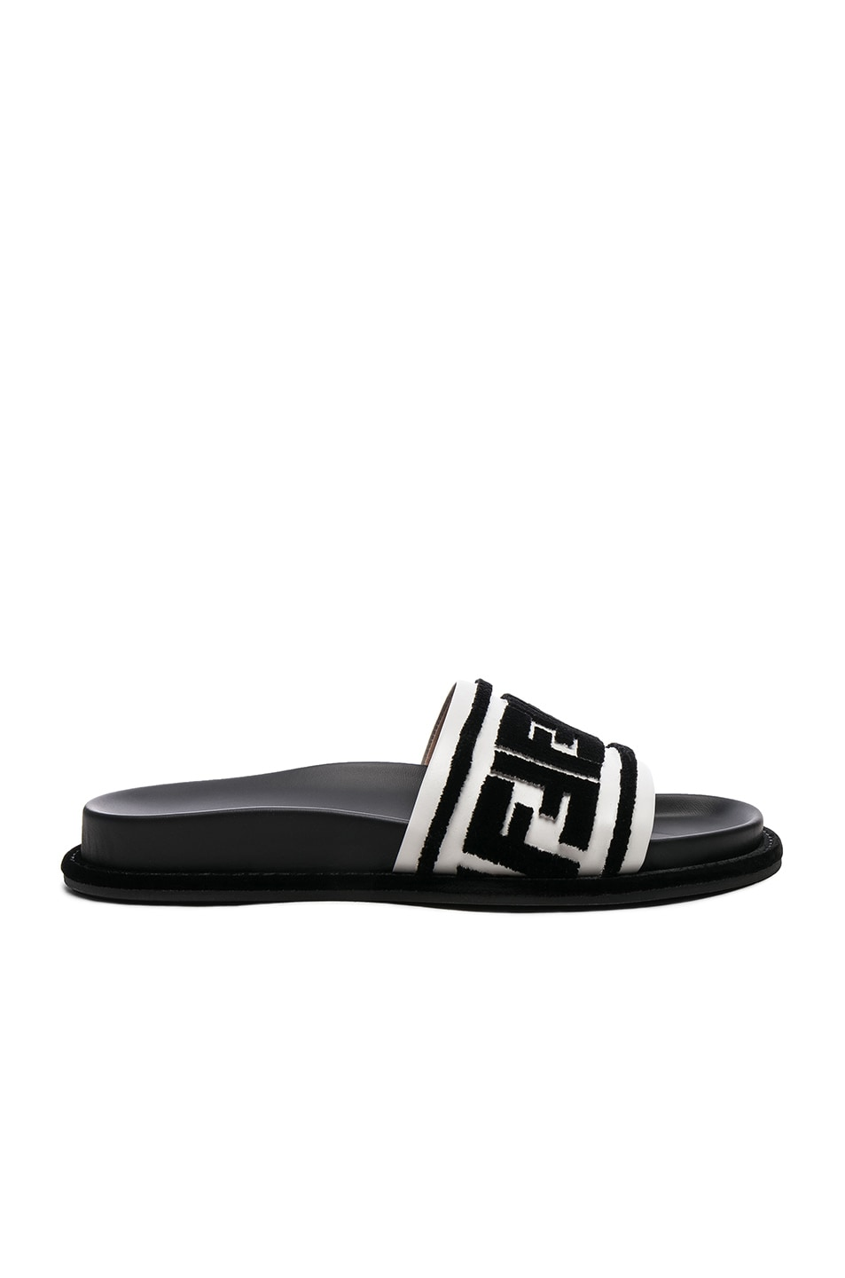 Image 1 of Fendi Logo Print Leather Slides in Black & White