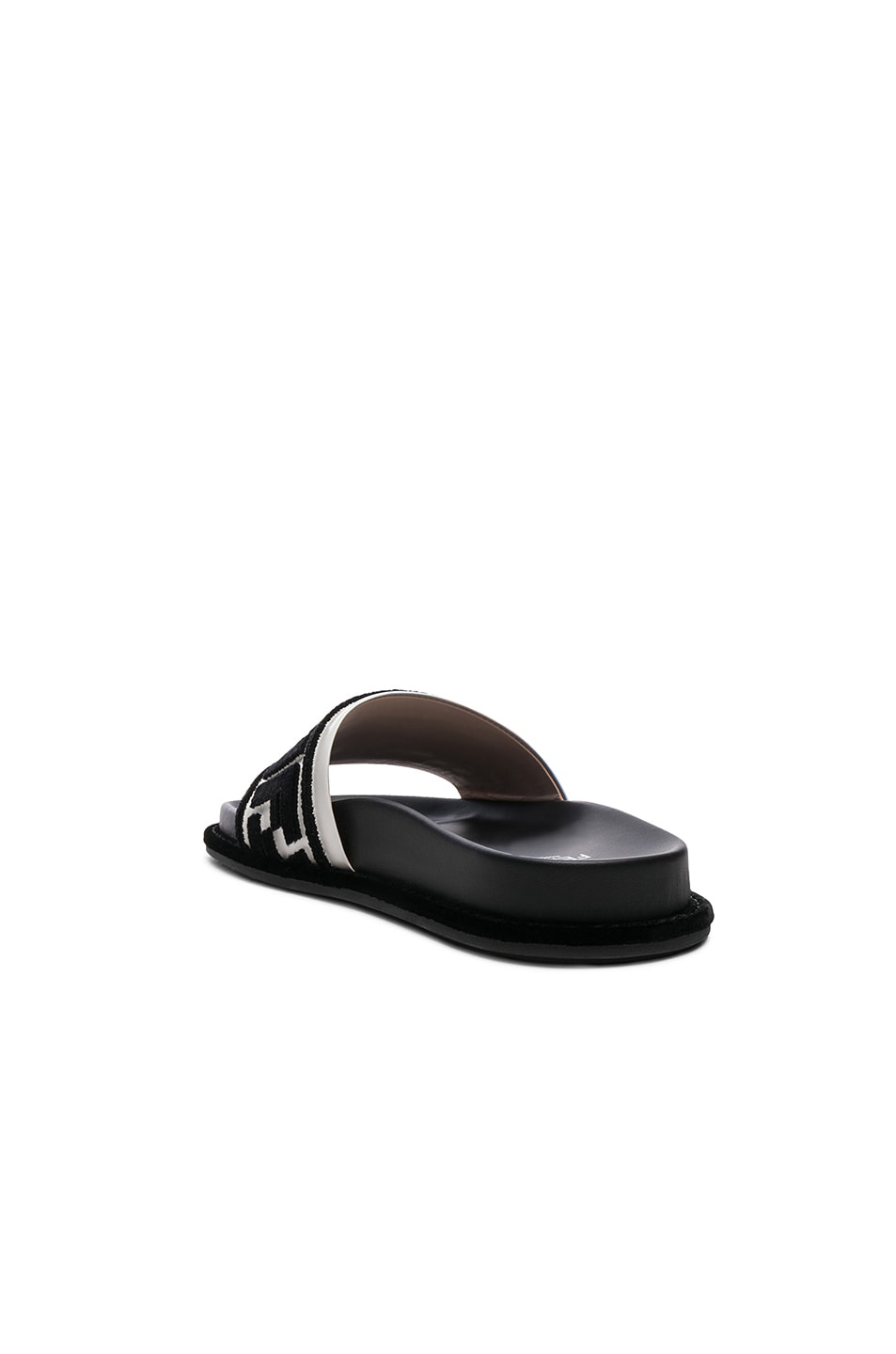 Image 3 of Fendi Logo Print Leather Slides in Black & White