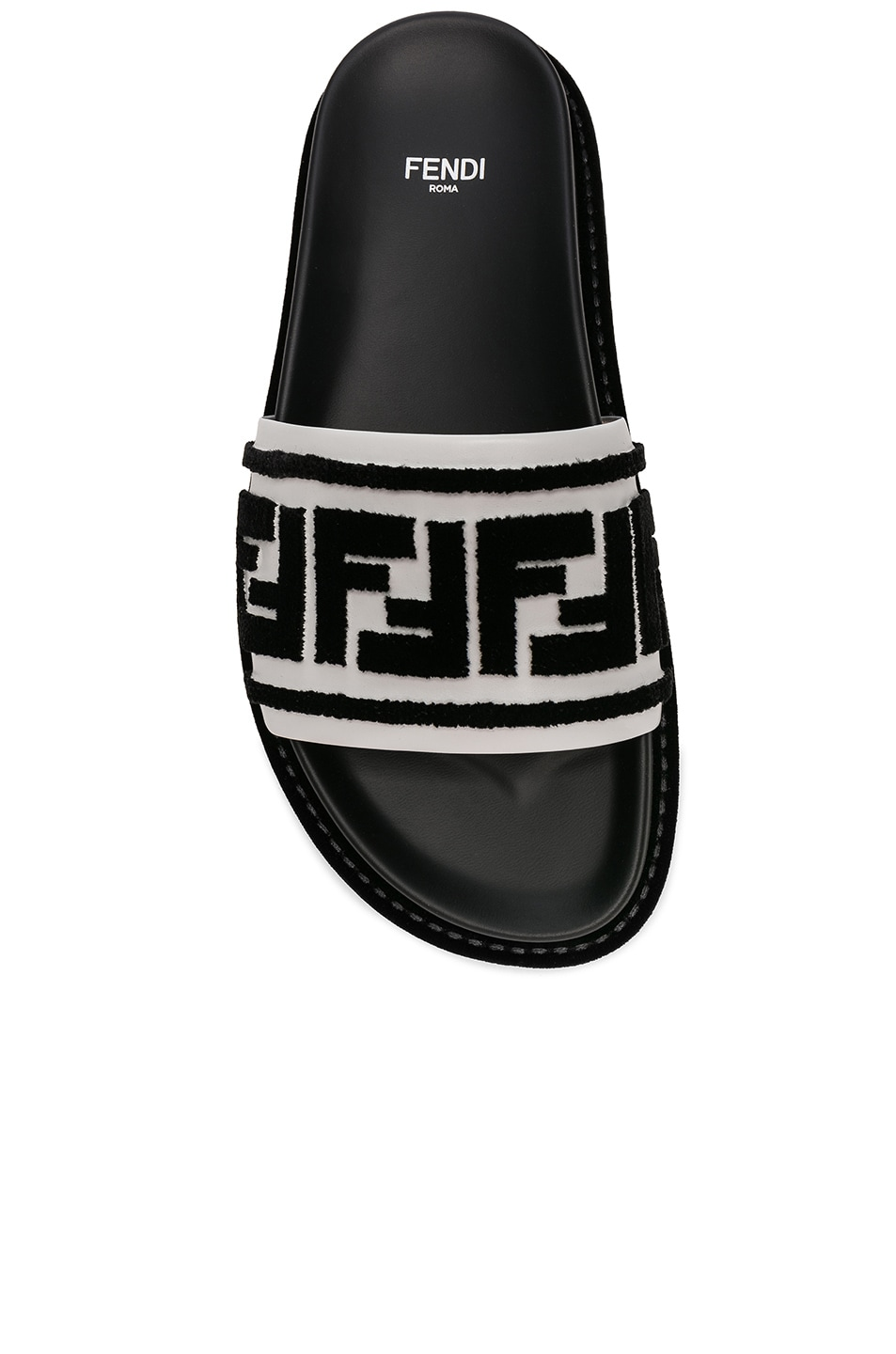 Image 4 of Fendi Logo Print Leather Slides in Black & White