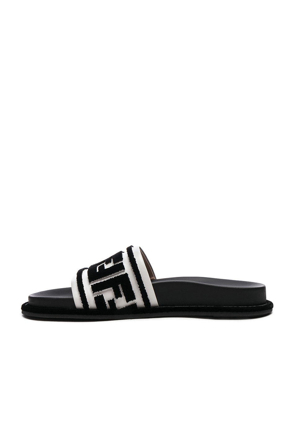 Image 5 of Fendi Logo Print Leather Slides in Black & White