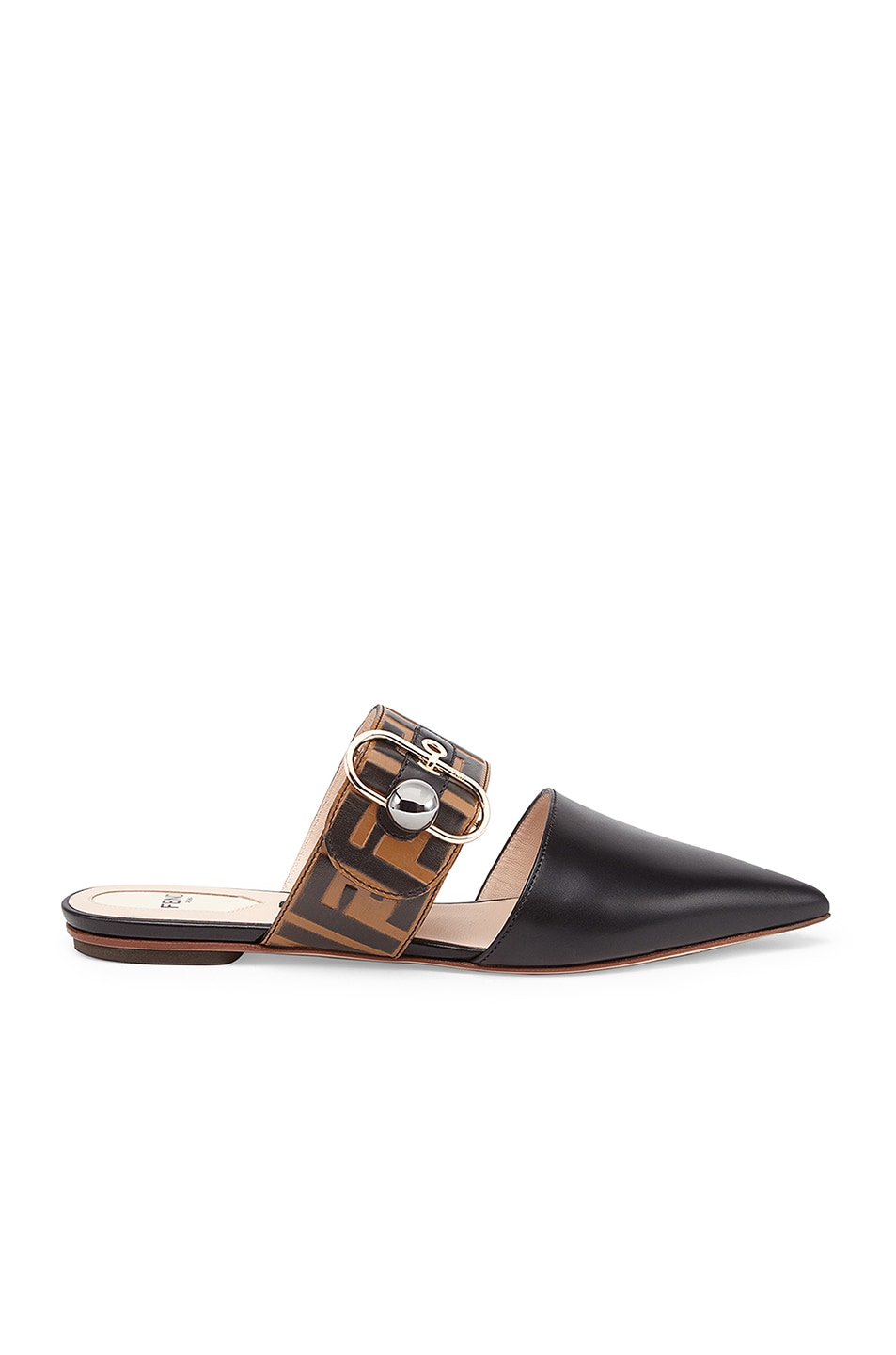 1f2950105205 Image 1 of Fendi Logo Print Leather Slides in Black   Brown