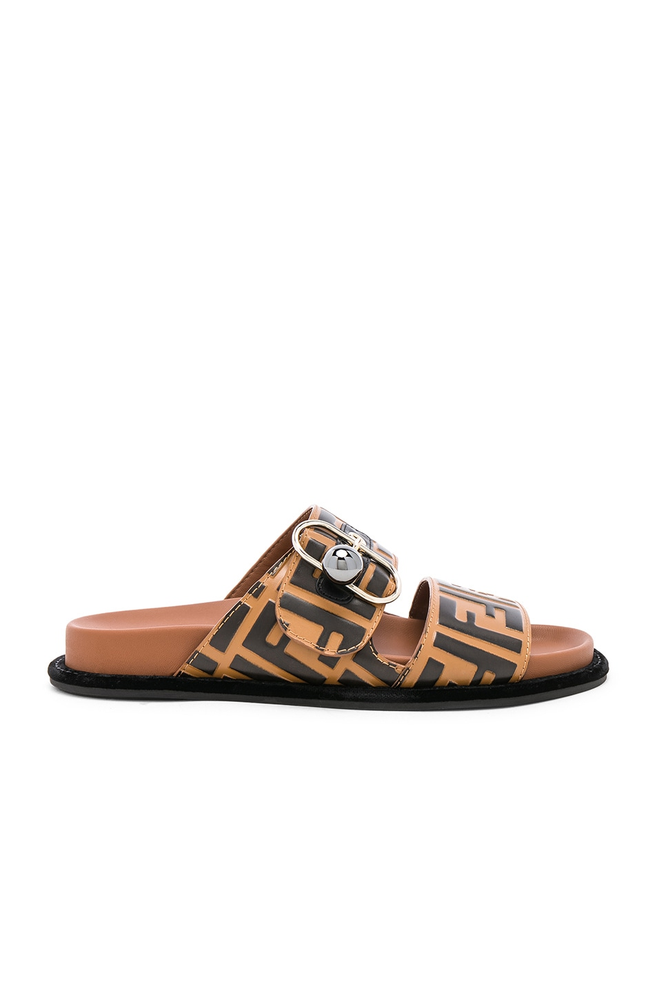 Image 1 of Fendi Pearland Logo Slides in Brown & Black