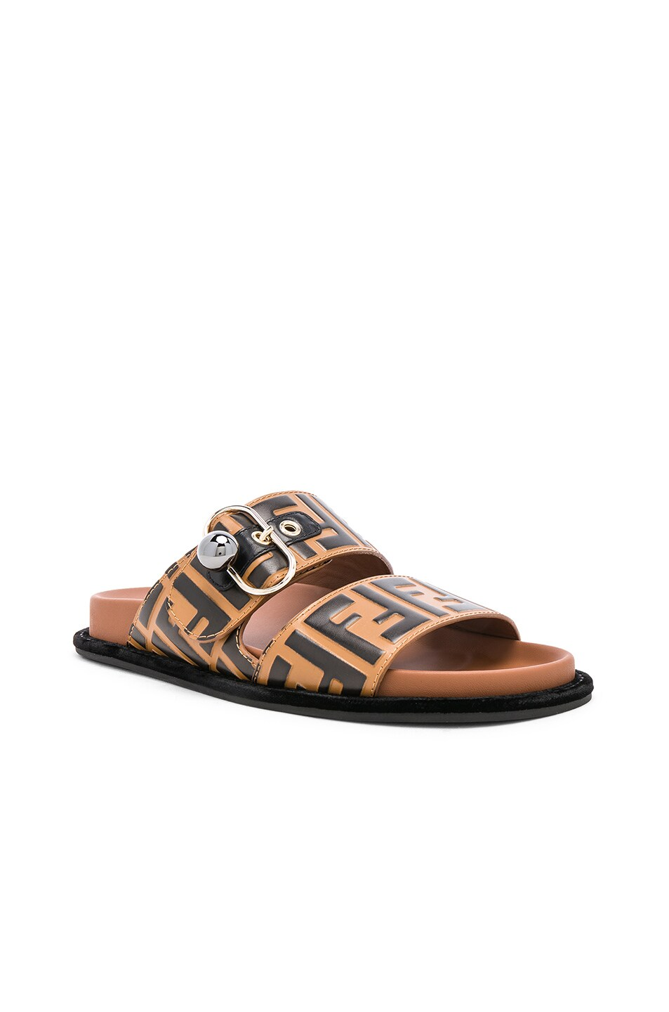 Image 2 of Fendi Pearland Logo Slides in Brown & Black