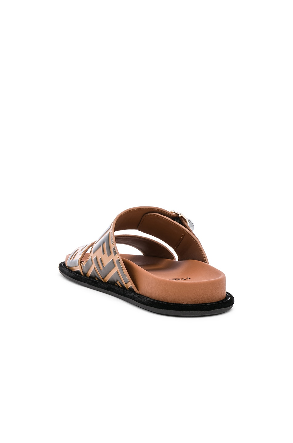 Image 3 of Fendi Pearland Logo Slides in Brown & Black