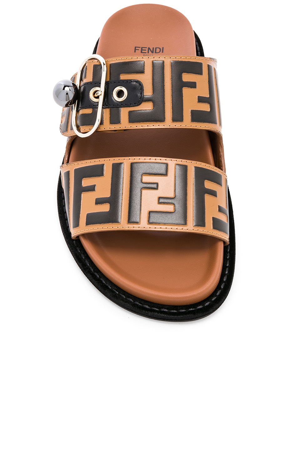Image 4 of Fendi Pearland Logo Slides in Brown & Black