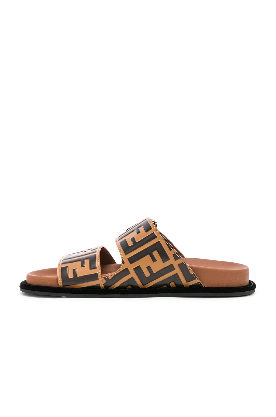 Image 5 of Fendi Pearland Logo Slides in Brown & Black