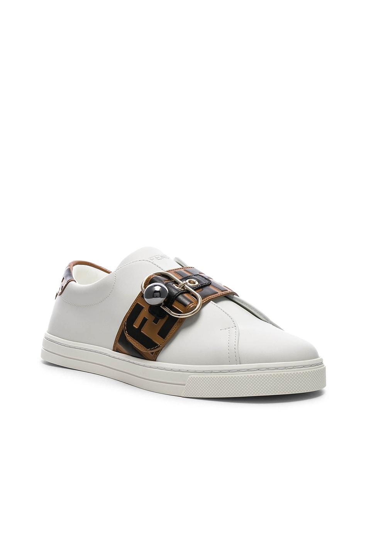 Image 2 of Fendi Logo Print Buckle Strap Sneakers in White, Black & Brown