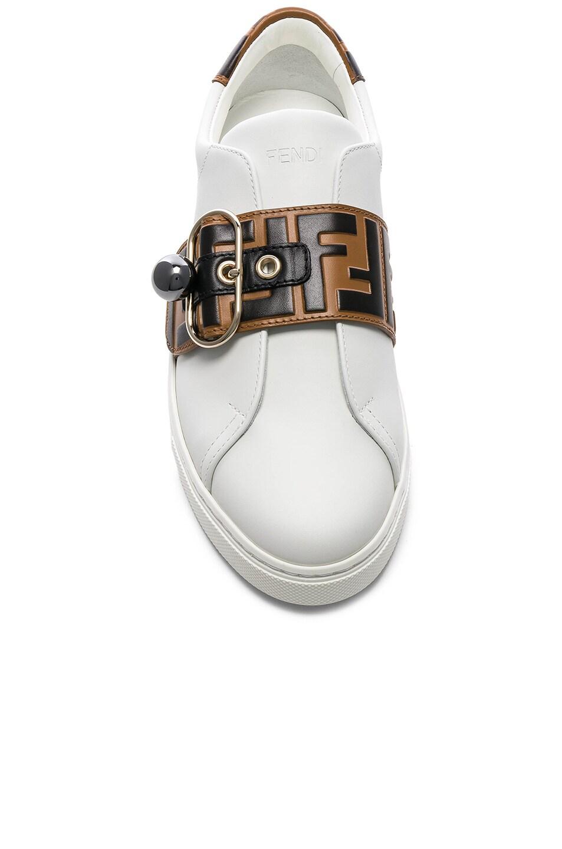 Image 4 of Fendi Logo Print Buckle Strap Sneakers in White, Black & Brown