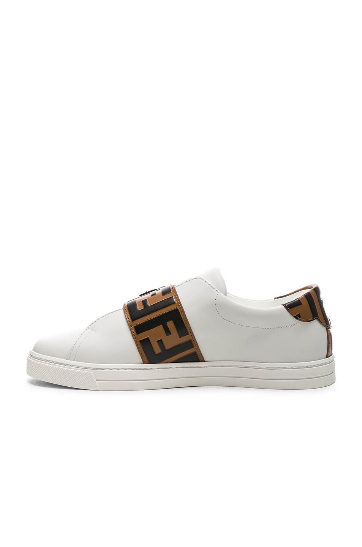 Image 5 of Fendi Logo Print Buckle Strap Sneakers in White, Black & Brown