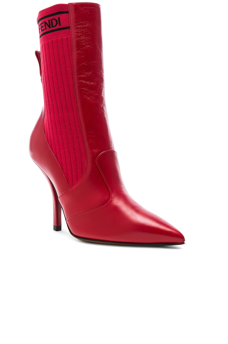 Image 2 of Fendi Leather & Knit Rockoko Mid Calf Boots in Red