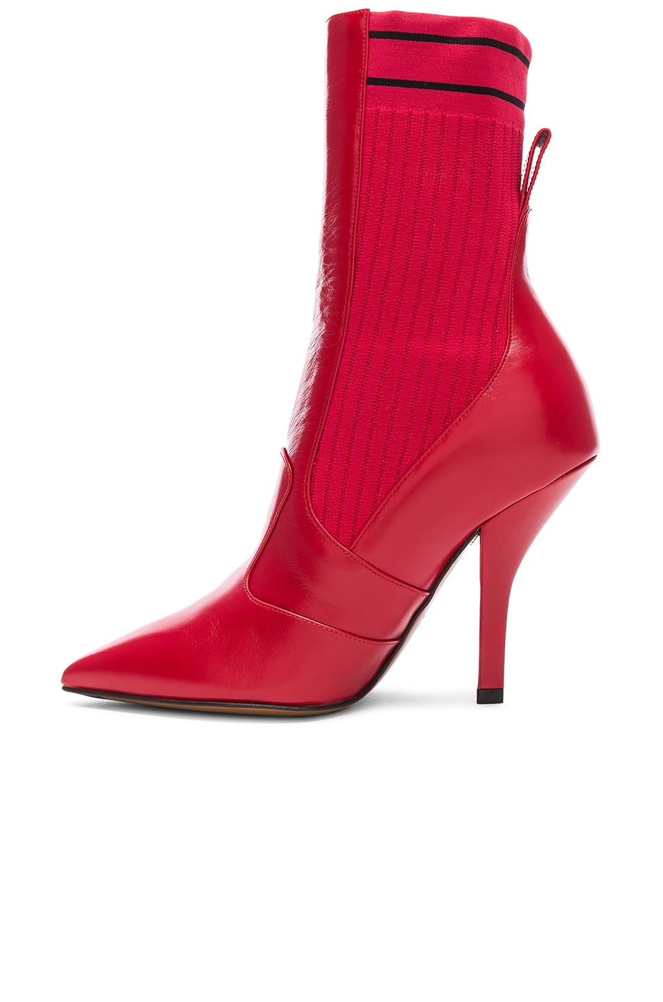Image 5 of Fendi Leather & Knit Rockoko Mid Calf Boots in Red