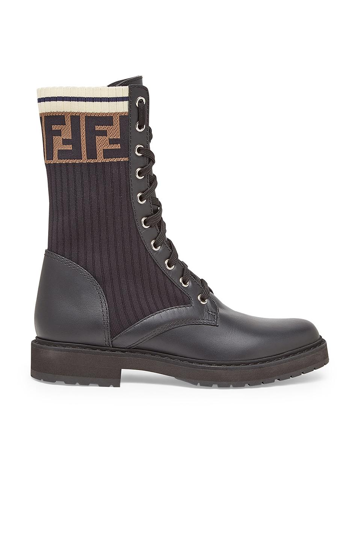 Image 1 of Fendi Leather & Knit Rockoko Hiking Boots in Black