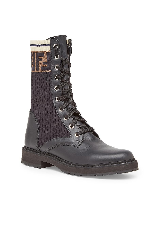 Image 2 of Fendi Leather & Knit Rockoko Hiking Boots in Black