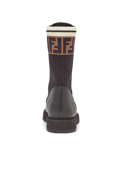 Image 3 of Fendi Leather & Knit Rockoko Hiking Boots in Black