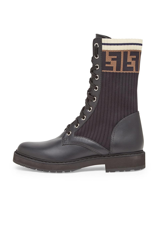 bebfe7e7f57 Fendi Leather & Knit Rockoko Hiking Boots in Black | FWRD
