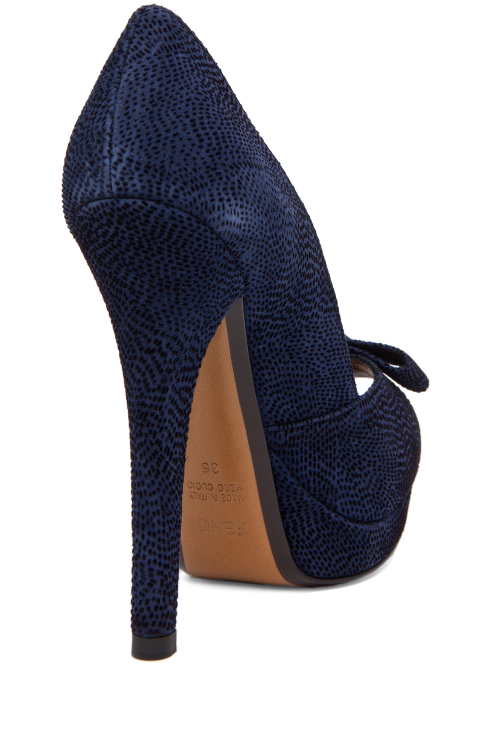 Image 3 of Fendi Bow Pump in Navy