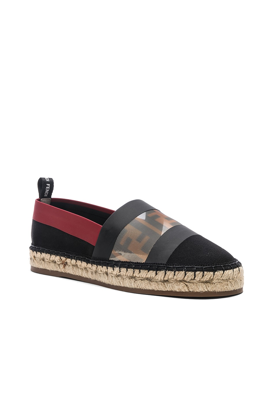 Image 2 of Fendi Mesh Espadrille Flats in Navy