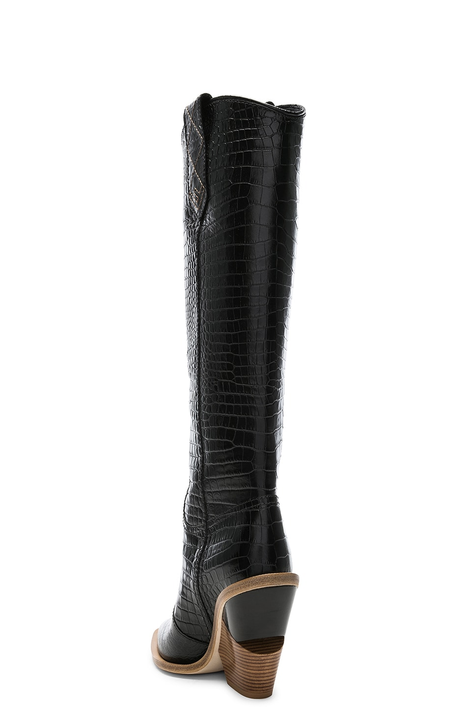 Image 3 of Fendi Cutwalk Croc Embossed Knee High Western Boots in Black