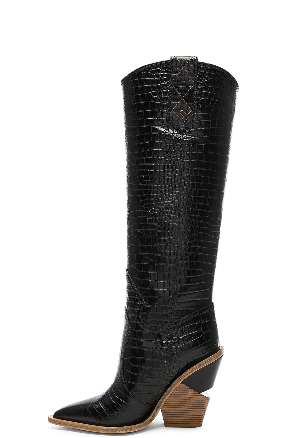 Image 5 of Fendi Cutwalk Croc Embossed Knee High Western Boots in Black