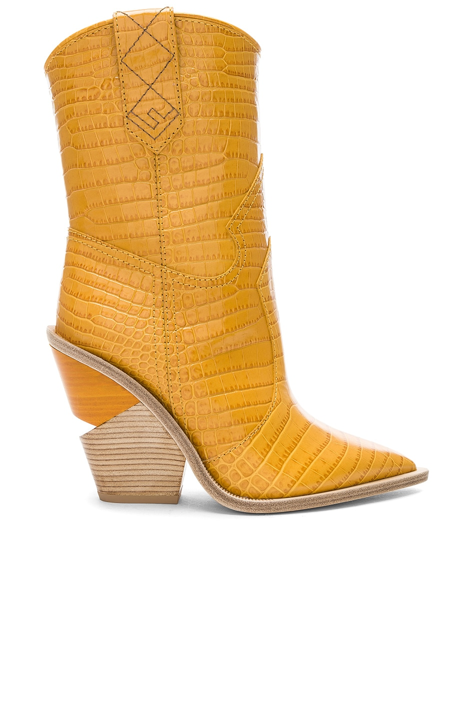 Image 1 of Fendi Cutwalk Croc Embossed Western Boots in Ochre