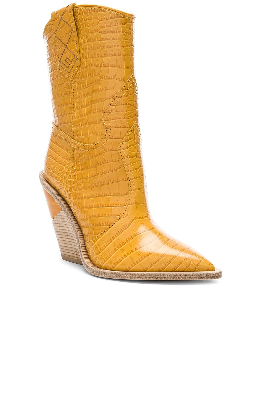 Image 2 of Fendi Cutwalk Croc Embossed Western Boots in Ochre