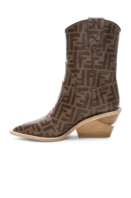 Image 5 of Fendi Cutwalk Logo Print Western Boots in Brown