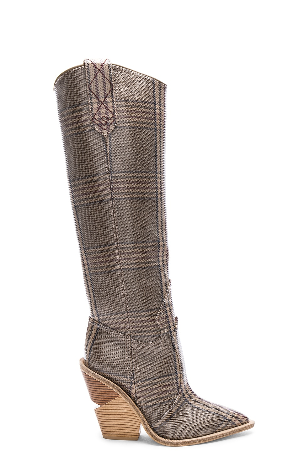 Image 1 of Fendi Cutwalk Check Knee High Western Boots in Grey