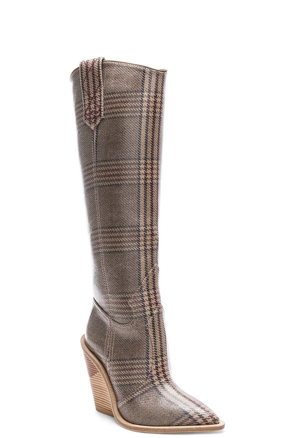 Image 2 of Fendi Cutwalk Check Knee High Western Boots in Grey