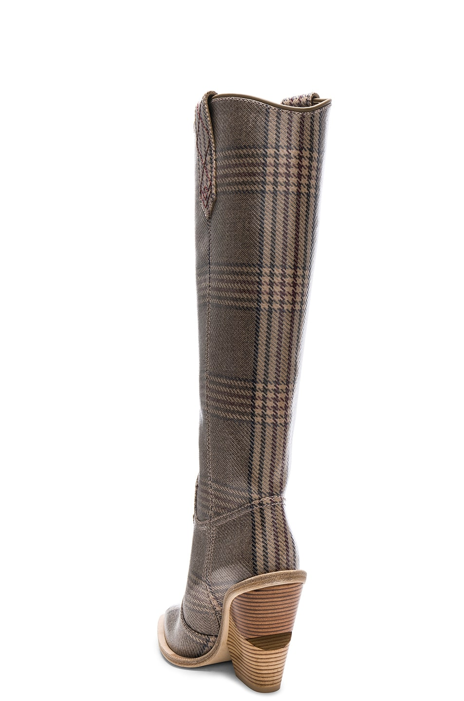 Image 3 of Fendi Cutwalk Check Knee High Western Boots in Grey