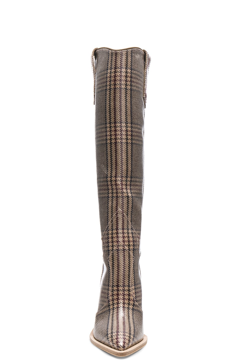 Image 4 of Fendi Cutwalk Check Knee High Western Boots in Grey