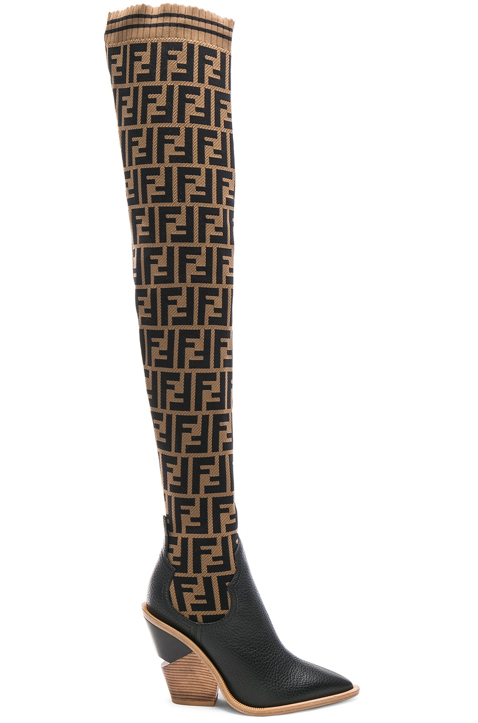 Image 1 of Fendi Logo Print Sock Boots in Tobacco & Black