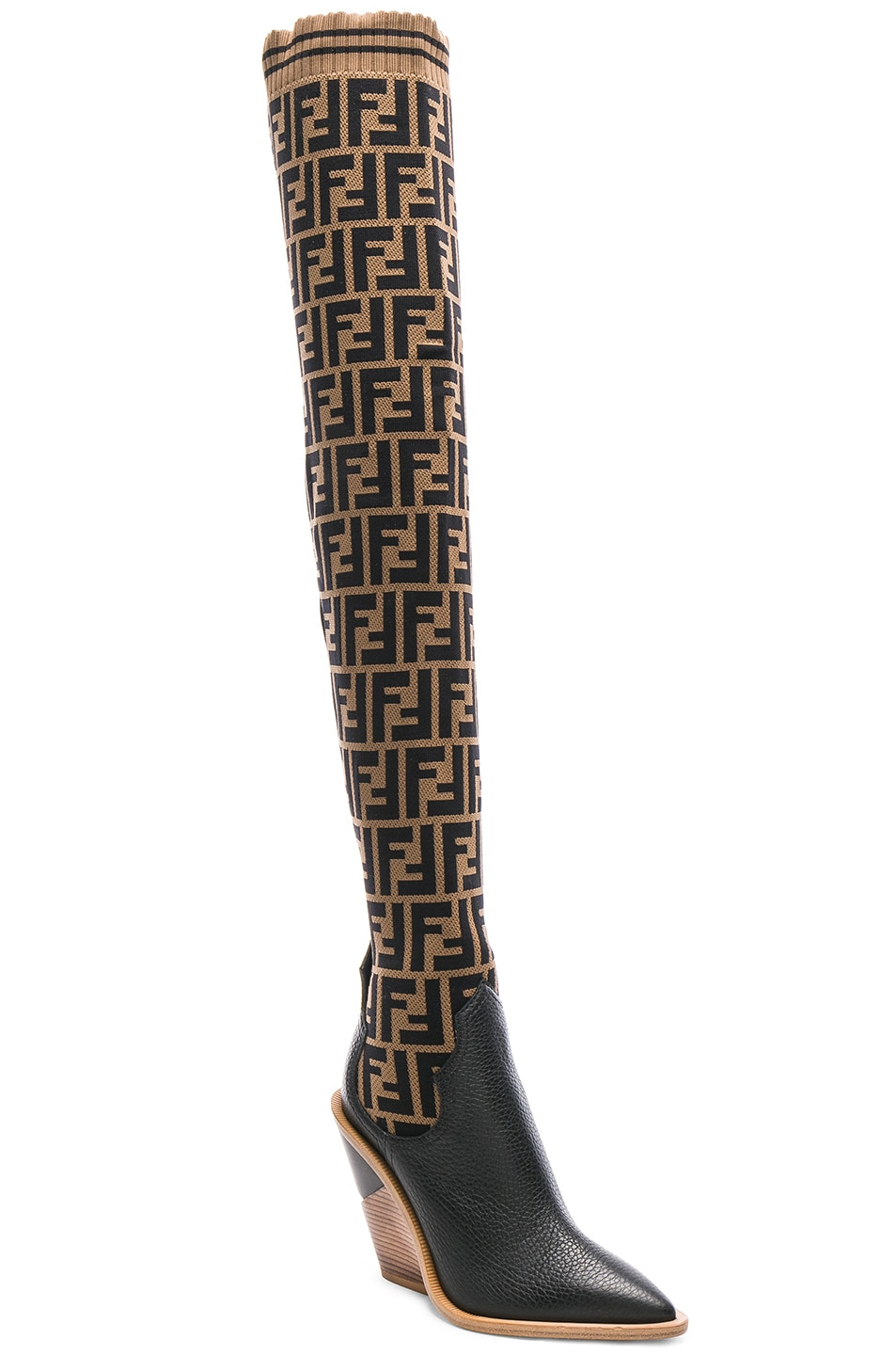 Image 2 of Fendi Logo Print Sock Boots in Tobacco & Black