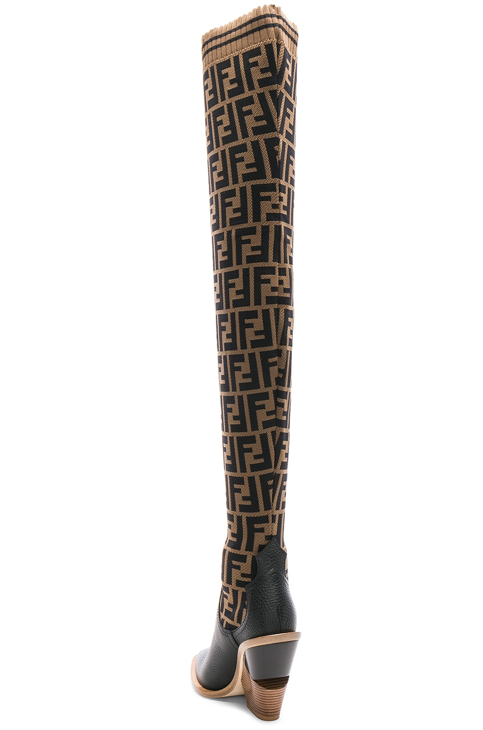 Image 3 of Fendi Logo Print Sock Boots in Tobacco & Black