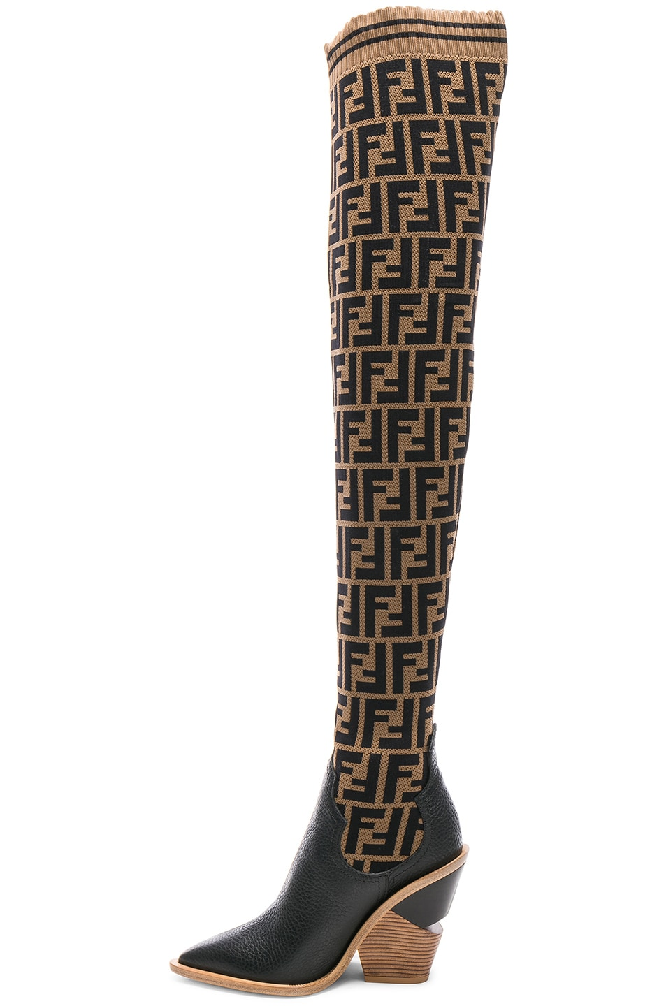 Image 5 of Fendi Logo Print Sock Boots in Tobacco & Black