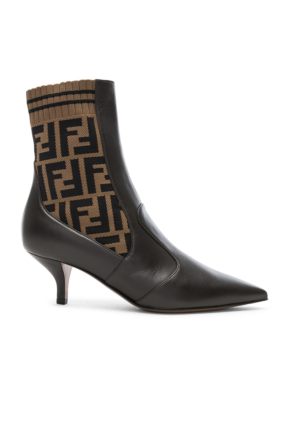 Image 1 of Fendi Rockoko Logo Ankle Boots in Black & Brown