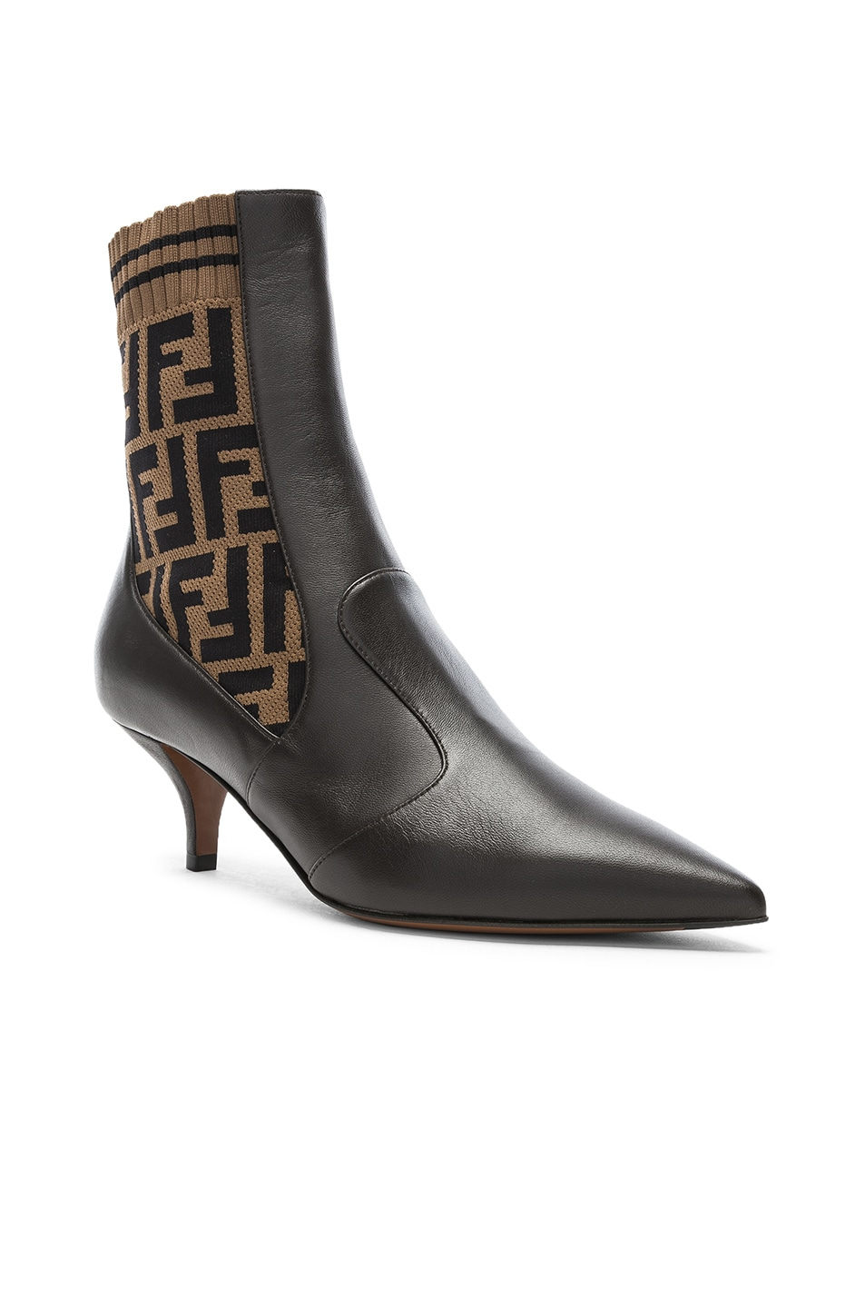 Image 2 of Fendi Rockoko Logo Ankle Boots in Black & Brown
