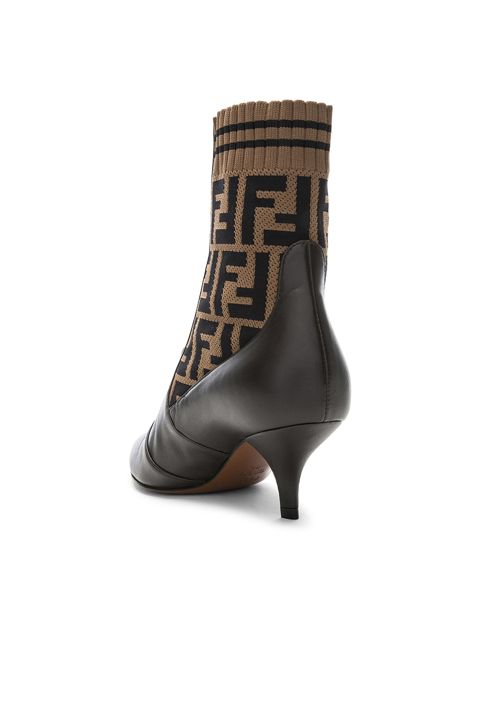 Image 3 of Fendi Rockoko Logo Ankle Boots in Black & Brown