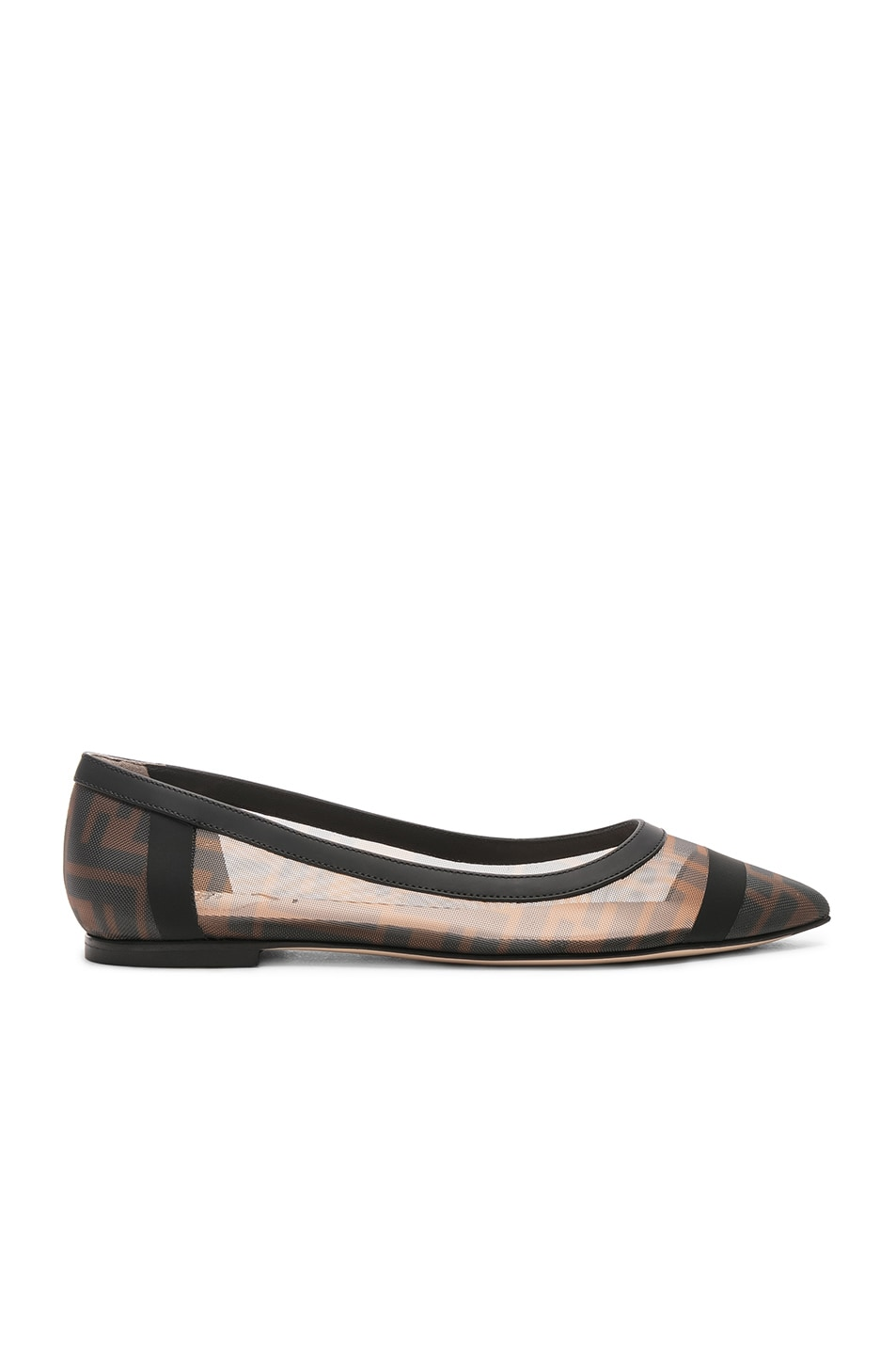Image 1 of Fendi Mesh Colibri Logo Flats in Black & Brown