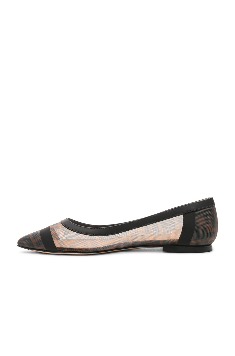 Image 5 of Fendi Mesh Colibri Logo Flats in Black & Brown