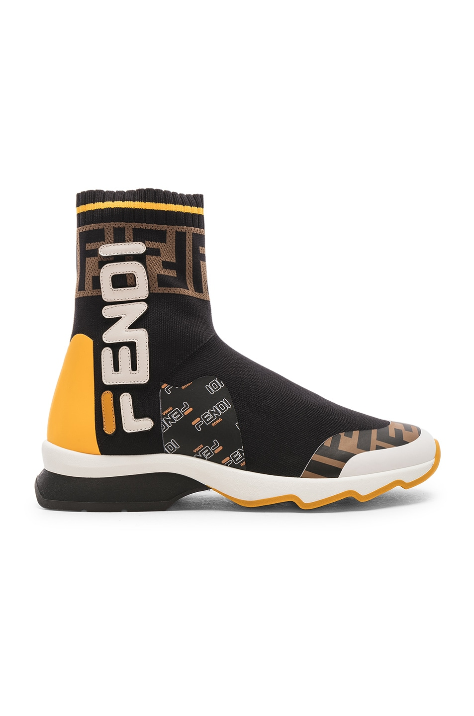 Image 1 of Fendi x FILA Sock Sneakers in Black & Multicolor