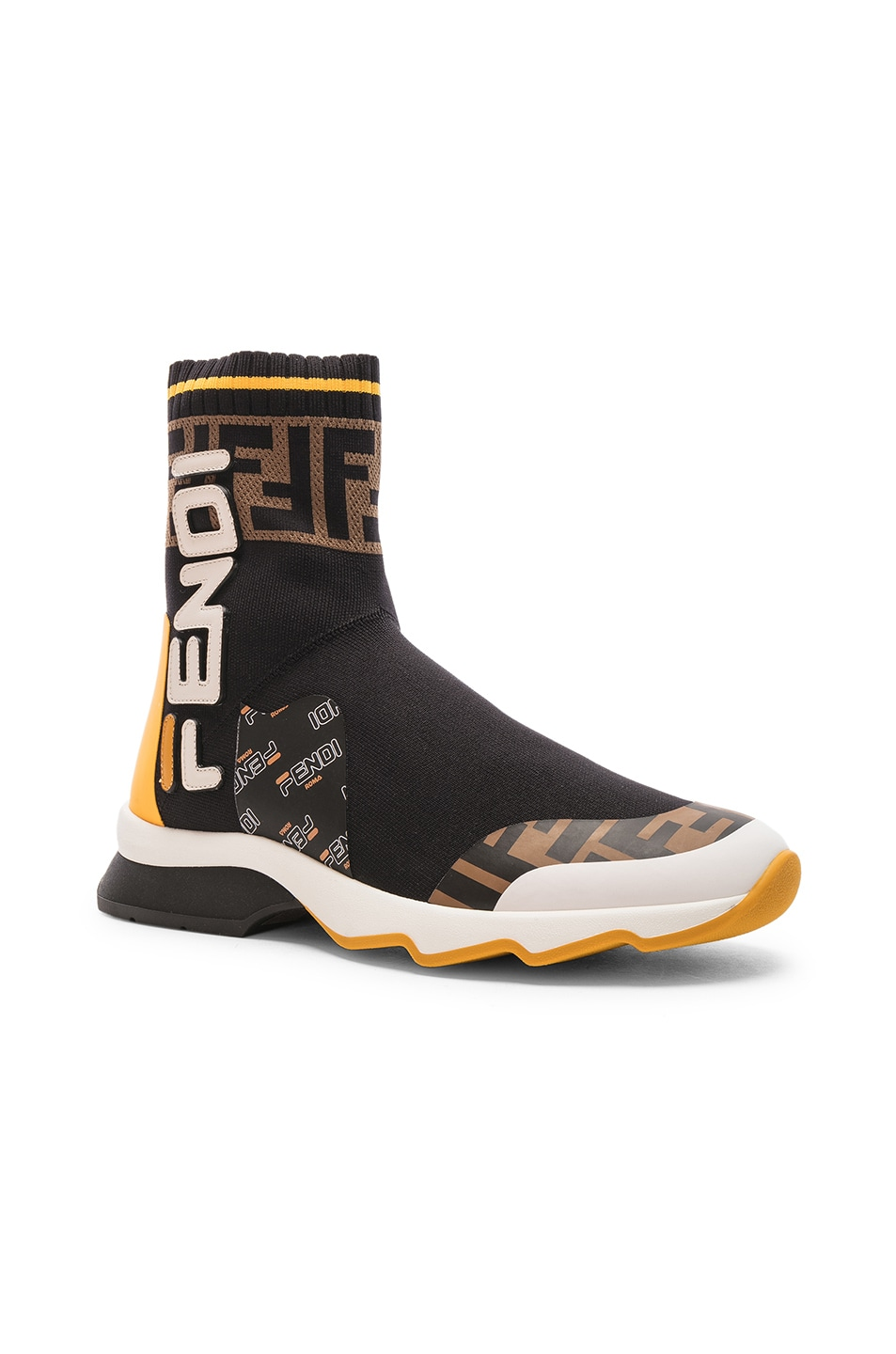 Image 2 of Fendi x FILA Sock Sneakers in Black & Multicolor