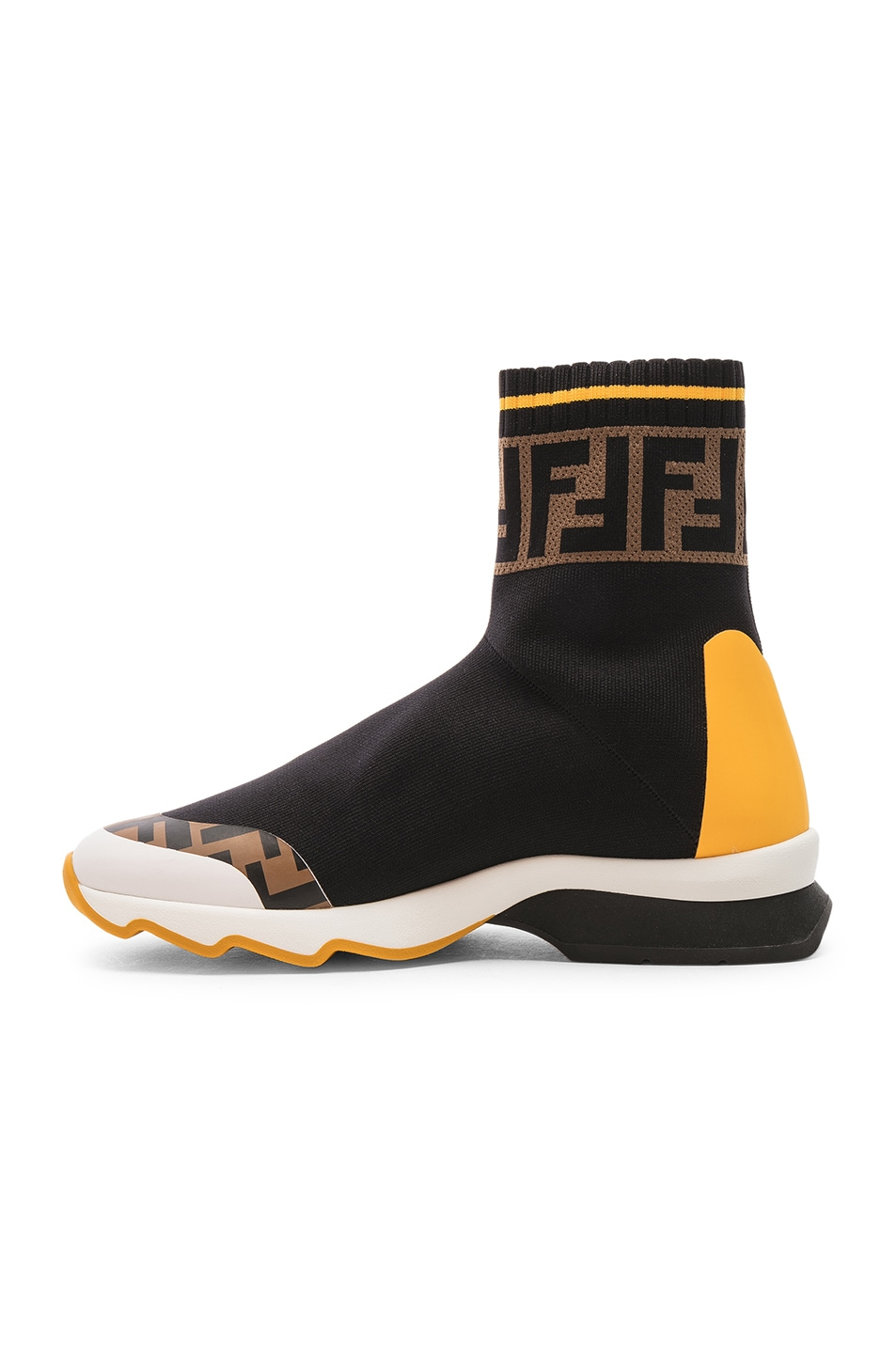 Image 5 of Fendi x FILA Sock Sneakers in Black & Multicolor