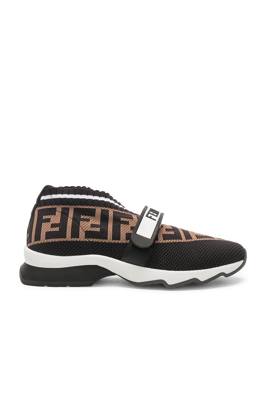 Image 1 of Fendi Rockoko Velcro Strap Sneakers in Black & Multicolor