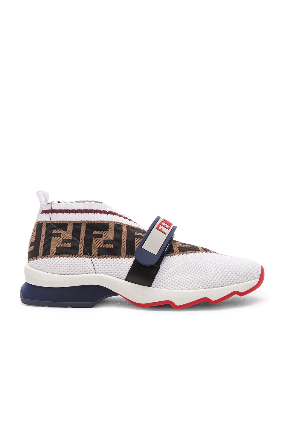 Image 1 of Fendi Rockoko Velcro Strap Sneakers in White & Multicolor