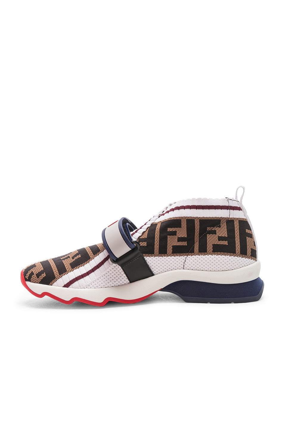 Image 5 of Fendi Rockoko Velcro Strap Sneakers in White & Multicolor