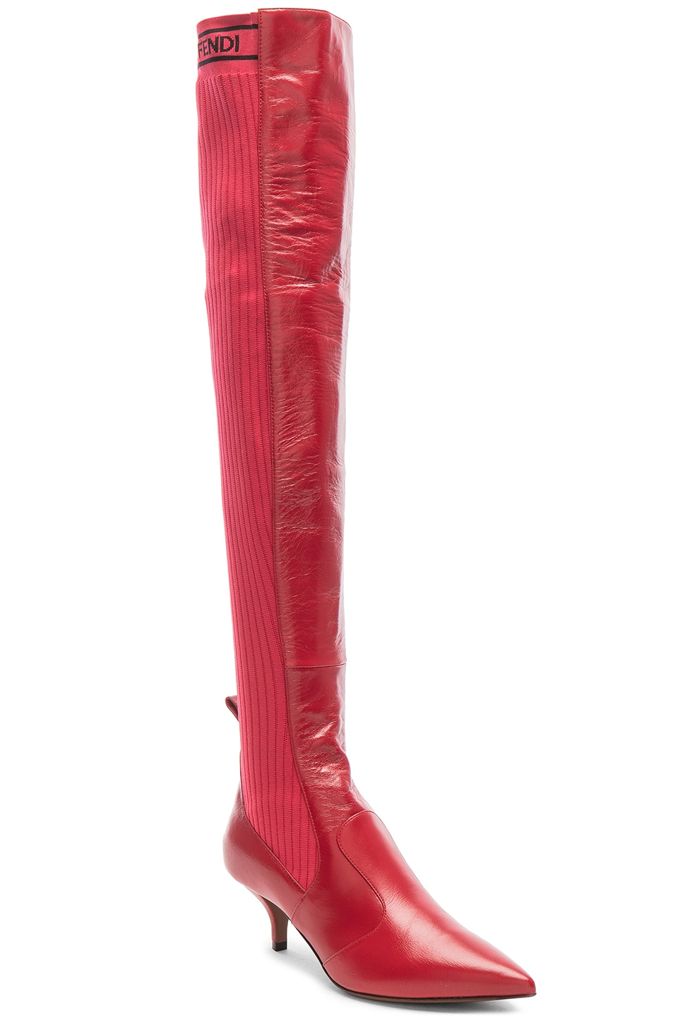Image 2 of Fendi Rockoko Thigh High Boots in Red